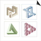 Different Multicolored Optical Illusions Of Unreal Geometrical Objects Posters af shooarts
