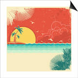 Vintage Nature Tropical Seascape Background With Island And Palms Decoration On Old Paper Poster Prints by  GeraKTV