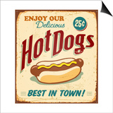 Vintage Hot Dogs Metal Sign Art by Real Callahan
