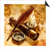 Vintage Compass, Quill Pen, Spyglass Lie On An Old Ancient Map With A Lit Candle Poster by Andrey Armyagov