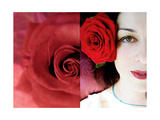 Selfportrait With Red Roses Dyptich Photographic Print by Alaya Gadeh