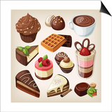 Set Of Chocolate Sweet Food Prints by  moonkin