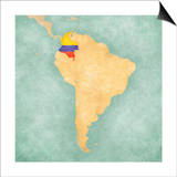 Map Of South America - Colombia(Vintage Series) Posters by  Tindo