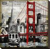 Landmarks San Francisco Stretched Canvas Print by Dylan Matthews