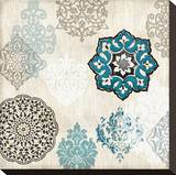 Decorative Blue Ornaments I Stretched Canvas Print by Ellie Roberts