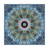 Frosted Blue Leaf Mandala Poster by Alaya Gadeh