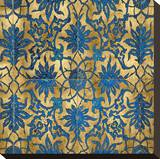 Ornate In Gold and Blue Stretched Canvas Print by Ellie Roberts