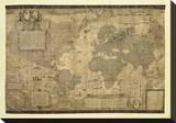Kart over verden Trykk på strukket lerret av Gerardus Mercator