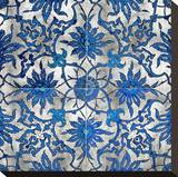 Ornate In Silver and Blue Stretched Canvas Print by Ellie Roberts