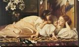 Mère et enfant Reproduction transférée sur toile par Frederick Leighton