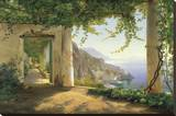 View to the Amalfi Coast Stretched Canvas Print by Carl Frederic Aagaard