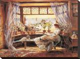 Reading by the Window Hastings Stretched Canvas Print by Charles James Lewis