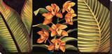 Orchidee arancioni e foglie di palma Stampa su tela di Rodolfo Jimenez