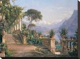 Lodge on Lake Como Stretched Canvas Print by Carl Frederic Aagaard
