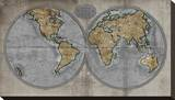Map of the World Stretched Canvas Print by Russell Brennan