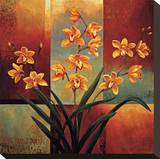Orange Orchid Stretched Canvas Print by Jill Deveraux