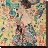 Donna con Ventaglio Stretched Canvas Print by Gustav Klimt