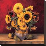 Sunflowers with Pears Stretched Canvas Print by Andres Gonzales