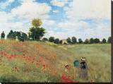 Coquelicots Trykk på strukket lerret av Claude Monet