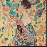 Mujer con abanico|Donna con Ventaglio Reproducción en lienzo de la lámina por Gustav Klimt