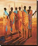Les Gardiens de la Terre Stretched Canvas Print by Jaques Beaumont