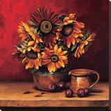 Sunflowers with Plums Stretched Canvas Print by Andres Gonzales