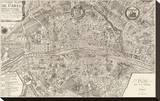 Plan de la Ville de Paris, 1715 Reproduction transférée sur toile par Nicolas De Fer