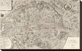 Plan de la Ville de Paris, 1715 Sträckt Canvastryck av Nicolas De Fer
