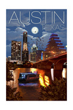 Austin, Texas - Skyline at Night Prints by  Lantern Press
