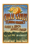 Coral Gables, Florida - Orange Grove Vintage Sign Prints by  Lantern Press