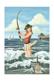 Pinup Girl Fishing Posters