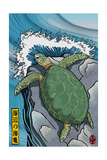 Sea Turtles - Woodblock Print Prints by  Lantern Press
