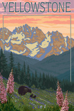 Yellowstone - Bear and Spring Flowers Prints by  Lantern Press