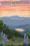 White Mountains, New Hampshire - Bears and Spring Flowers Prints by  Lantern Press