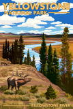 Yellowstone National Park - Yellowstone River and Elk Prints by  Lantern Press