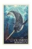 Olympia, Washington - Narwhal Prints by  Lantern Press