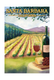 Santa Barbara, California - Wine Country Prints by  Lantern Press