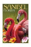 Sanibel, Florida - Flamingos Poster by  Lantern Press