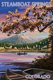 Steamboat Springs, Colorado - Twilight Lake Scene Art by  Lantern Press