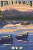 Mount Katahdin, Maine Poster von  Lantern Press