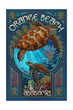 Orange Beach - Alabama - Sea Turtle Art Nouveau Prints by  Lantern Press