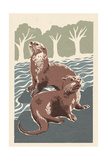 River Otters - Woodblock Print Prints by  Lantern Press