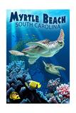 Myrtle Beach, South Carolina - Sea Turtles Swimming Prints by  Lantern Press