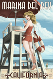 Marina Del Rey, California - Lifeguard Pinup Print by  Lantern Press