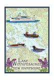 Lake Winnipesaukee, New Hampshire - Lake Chart Posters by  Lantern Press