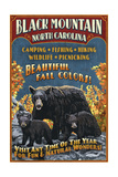 Black Mountain, North Carolina - Black Bears Vintage Sign Poster