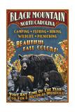 Black Mountain, North Carolina - Black Bears Vintage Sign Poster by  Lantern Press