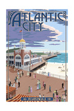 Atlantic City, New Jersey - Boardwalk Art by  Lantern Press