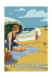Hampton Beach, New Hampshire - Woman on the Beach Prints by  Lantern Press