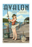 Avalon, New Jersey - Fishing Pinup Print by  Lantern Press